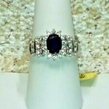 BLUE SAPPHIRE - ZIRCON RING - SIZE 8 - PLATINUM OVER STERLING SILVER -  2.90 CT