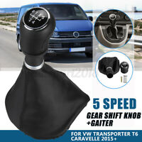 5 Speed Gear Shift Knob PU Leather Gaiter For VW Transporter T6 Caravelle 2015+