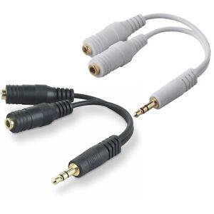 """F8V234 Belkin Universal 6"""" Stereo Speaker & Headphones Splitter Black or White"""
