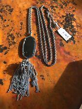 NWT Kendra Scott Rayne Long Tassel Pendant Necklace Gray Hematite