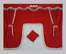 Full Set DAF Red Curtains Pelmets With White Tassels