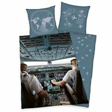 AIRPLANE PILOT COCKPIT SINGLE DUVET COVER SET REVERSIBLE BOYS 100% COTTON