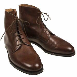 Silvano Lattanzi Brown Museum Calf Leather Boots 8.5 (EU 7.5) Hand-made in Italy