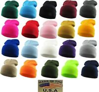 Made in USA - Beanie Skull Knit Cap Hat Winter Thick Cuffed Cold Weather Ski