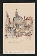 Town Hall and Market Place Whitby 1950's ? Postcard ~ Yorkshire ~  TOP QUALITY