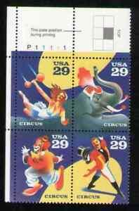 US. 2750-53. 29c. Circus. PB4 #P11111 UL. MNH. 1993