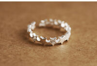 Solid 925 Sterling Silver Stacking Star Cubic Zirconia CZ Open Band Ring Gift UK