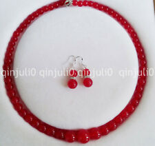 """6-14mm Red Ruby Gemstones Round Beads Necklace Earrings Jewelry Set 18"""" JN1332"""