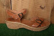 JOSEF SEIBEL Brown Leather Ankle Strap Sandals w/Cork Midsole EUR 41 | US 9.5