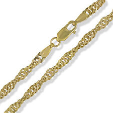 """375 9CT SOLID YELLOW GOLD 18"""" SINGAPORE TWISTED CURB LINK ROPE CHAIN NECKLACE"""
