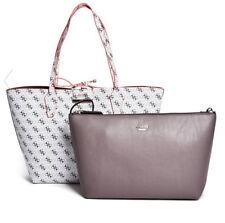 GUESS Bobbi 3 in 1 Reversible Classic Tote Handbag Purse Logo print white tan