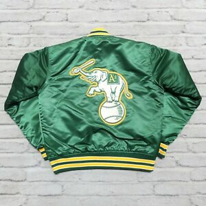 Vintage 90s Oakland Athletics A's Satin Jacket by Starter Green Elephant Logo
