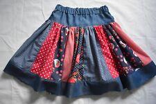Girl's navy blue and red stripe skirt, size 8 - handmade
