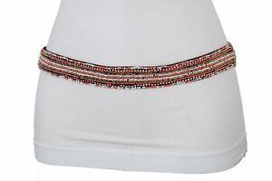 Women Black Elastic Hip High Waist Boho Fashion Narrow Belt Chic Beads Size S M
