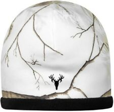 REALTREE SNOW, WHITE CAMO LADIES STRETCH STOCKING HAT BEANIE - REVERSIBLE BLACK
