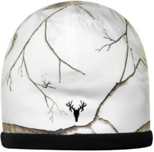 Realtree Snow Camo, White Stretch Stocking Hat Beanie - Reversible Black