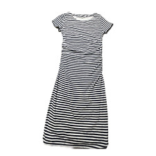 Boden Dress 8 Long Womens Striped White Blue Ruched Short Sleeve Casual Bodycon