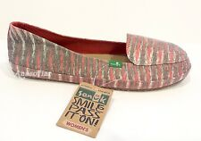 SANUK FOLKLORE SLIP ON FLATS SHOES CANVAS PINK WOMEN'S US SIZE 10 -NWT