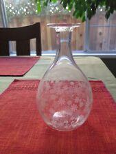 BACCARAT Floral Etched Carafe Vase Container Crystal Bottle