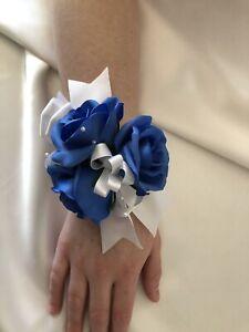 1x Silk Royal Blue rose & White Wedding Bridal Flower Wrist Corsage