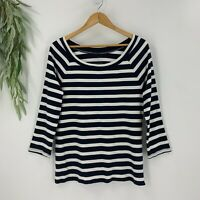 Talbots Womens Tee Scoop Neck T-Shirt Top Navy White Stripe Size L 3/4 Sleeves