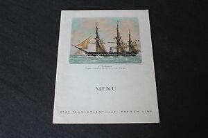 "(73) Menu ""L'Audacieuse"" French Line Paquebot ""Antilles"" 19 mai 1962"