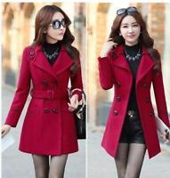 Women Wool Blend Winter Warm Peacoat Long Double Breasted Coat Jacket Outwear SZ
