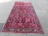 Vintage Hand Made Traditional Rug Oriental Wool Red Long Carpet 316x158cm