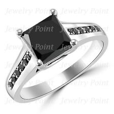 1.95ct Princess Cut Fancy Black Diamond 14k White Gold Engagement Bridal Ring