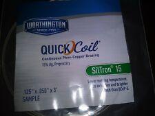 Worthington Quick Coil SilTron 15  Copper Brazing Rod .125x.050x3ft