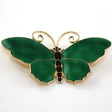 David Andersen Norway Sterling Silver Green Enamel Butterfly Pin Brooch LDD29