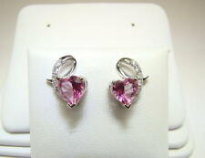 Pure Pink Mystic Heart Shape Topaz and Diamond Earrings 14K WG