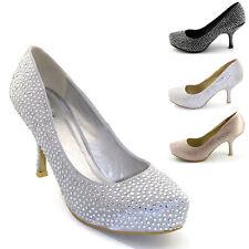 Mujer Satén Con Pedrería Mujer Tacón Mediano Plataforma Boda Graduación Zapatos