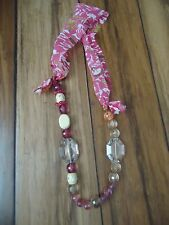 NWT Anthropologie Vintage scarf with pink/ rose germ necklace