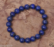 Vintage 8mm Natural Indigo Lapis Lazuli Round Gemstone Stretchy Bangle Bracelet