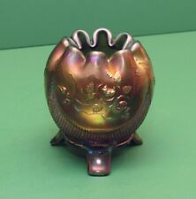 Northwood Carnival Glass Fine Cut And Roses Rose bowl Green ca 1909