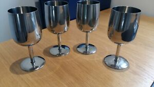 4 STAINLESS STEEL  UNBREAKABLE WINE GOBLETS,USED ONCE . IDEAL -OUTSIDE !