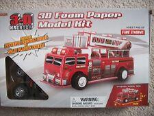 Paper Model Fire Truck Golden 3-D Kreator Foam Paper Model Kit Fire Engine  New