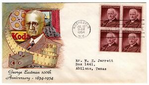 #1062 George Eastman 1954 FDC Ralph Dyer Hand-painted - Rochester NY