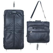 GoalWinners Black Leather Travel Suit Carrier Garment Bag Weekend Cabin Suit Bag