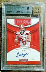 2018 BAKER MAYFIELD Rookie Auto /25 Red ROY BGS 9 Mint, #1 Autograph Beckett 10!