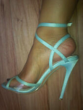 "Boo Hoo Baby Blue Satin & Transparent  4""  Strappy Heels UK 5 EU 38 Barely Worn"
