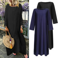Womens Spring Plus Size Baggy Crew Neck Long Sleeve Solid Casual Long Maxi Dress