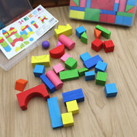 34PCS Colorful Infant Wood Blocks Toys Geometric Shape Stacking Building Blocks