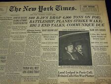 1945 AUGUST 2 NEW YORK TIMES - 800 B-29'S DROP 6,000 TONS ON FOE - NT 512