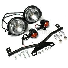 Motorcycle Black Spot Light Bar + Turn Signals Bracket Set For Harley Custom US