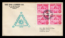 Phillipines WW II Japanese Occupation Sc #N31a Block of 4 Censor FDC 10/14/1943