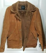 Vintage 70s Suede Leather Faux Fur Shearling Lined Marlboro Man Ranch Jacket 40