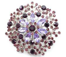 Purple Flashy Wedding Bridal Austrian Rhinestone Crystal Brooch Pin