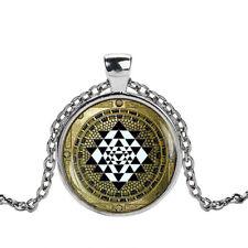 Sri Yantra Mandala Collar De Vidrio Retro Colgante Budista De Vidrio De Cadena De Plata